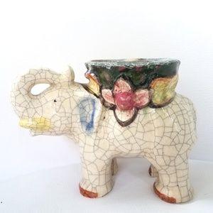 Vintage Ceramic Crackle Finish Elephant Planter